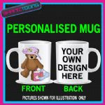 CUTE BEAR SHOPPING GIRLIE LADIES MUG PERSONALISED 003
